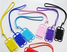 DHL mischen Farben Silikon Handy Fall mit Lanyards Universal Handy Lanyard Kartenhalter Bonbonfarben individuelles Logo