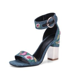 $enCountryForm.capitalKeyWord UK - New casual women's sandals denim linen square head with electroplating thick high heels female shoes