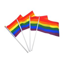 Discount hand waving flags - 100pcs Rainbow Stick Flag 5x8 inch Gay Pride Hand Flag waving flags for Festive Party Supplies