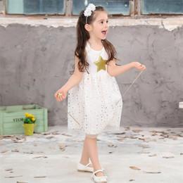 Star Belts Australia - Baby Girls Sequins Dresses Star Printed with Belt Sleeveless Dress kids party princess dress 3-10T summer girl dress