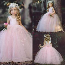 Toddler Princess Halloween NZ - New 2018 Puffy Tulle Floor Length Cute Princess Girl'S Pageant Dress Vintage Blush Pink Arabic Wedding Party Flower Girl Dresses Kids Dress