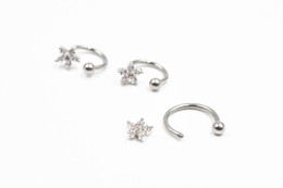 $enCountryForm.capitalKeyWord UK - 20pcs LOT Free Shipping Surgical Steel Earring Nipple Nose Labret Piercing Rings Bars Horseshoes 16G CZ Flower Gems NEW