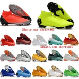 6ad19bc804e 2018 mens soccer cleats Mercurial Superfly VI Elite 360 CR7 FG high ankle  soccer shoes Ronaldo neymar football boots leather Orange