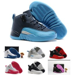 basketball shoes for girls Australia - 2018 kids sneakers J12 basketball shoes for boys girls black red white blue high top quality Sports Shoes Toddlers Birthday Gift 28-35