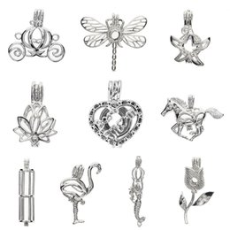 Pearl Pendant Charms Wholesale Australia - 2018 180 Styles In Stock 18k GP Love Wish Pearl Cage Pendants Bead Hollow Lockets for Jewelry Making Charms 100pcs lot