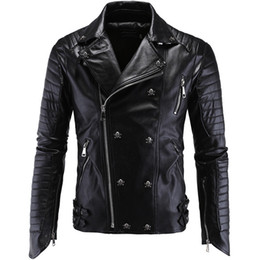 Punk Motorcycle Jacket Australia - Mens PU Leather Jacket Punk British Style Harley Motorcycle Jacket Male Zipper Coat Skull Decoration XZ10-6