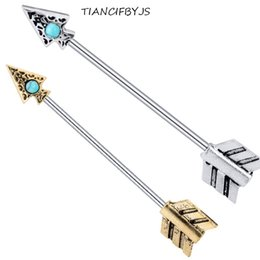 Body piercing tragus online shopping - Stainless Engrave Tree Of Life arrow Earring Barbell Industrial Piercing Long Tragus Earring Body Jewelry
