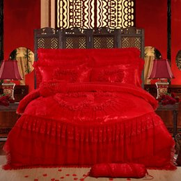 red heart queen 2018 - 4pcs 6pcs Heart rose lace bed cover set, Osyter red luxury wedding bedding sets (duvet cover +bedcover+ pillowcase)king