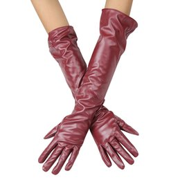 4b7d9be14251 150PAIRS LOT Women Leather Gloves Synthetic Leather Warm Long Mittens  Fashion Dance Driving Over Elbow Lady Gloves