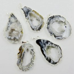 agate geode slices wholesale UK - Wholesale-BOROSA Brazilian Agates Geode Druzy Slice - Electroplated Silver Color Edged Agates Slice Drusy Druzy Pendant