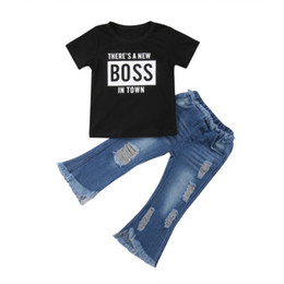 girls ripped shirts UK - Girl Short Sleeve Tops T-Shirts Ripped Denim Pants Outfits Summer Clothing Toddler Kids Girl Clothes Sets 1-6T
