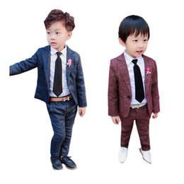 Ingrosso tuta causale ragazzino set stile retrò gentiluomo pantaloni blazer solido set per 3-8years ragazzi bambini bambini vestito classico set vestiti