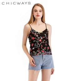 xl floral tank tops women 2019 - CHICWAYS Casual Strap Mesh Embroidery Camisole Women Tank Top Sexy Backless Loose Streetwear Chic Cami 2018 Summer Flora
