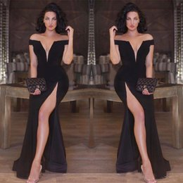 $enCountryForm.capitalKeyWord Canada - Sexy Black Mermaid Evening Dresses off Shoulder Deep V-neck Side Split Prom Party Gowns Slim Celebrity Special Occasion Gown
