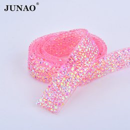 Chain Trimmings NZ - JUNAO 5 Yard*15mm Hotfix Pink AB Resin Rhinestones Chain Trim Crystal Mesh Sewing Strass Banding Bridal Applique For Dress