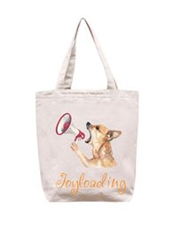 Dog Zipper Australia - Joyloading Canvas Cartoon 3D Cute Dog Design Reusable Grocery Shopping Bag Zipper Closure Foldable Tote Bag