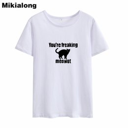 $enCountryForm.capitalKeyWord Australia - Women's Tee Mrs Win You're Freaking Meowet Cat Tshirt Femme Harajuku Kawaii Black White Tumblr T-shirts Girl Solid Casual Womens Tops