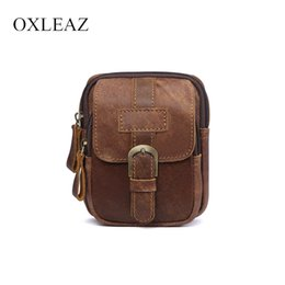 men leather waist hip bag UK - wholesale Men Vintage Designer Hip Bag Mini Genuine Leather Fanny Pack Male Travel Pouch Belt Waist Bag Brand Bags Women Fannypack