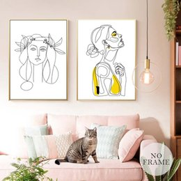 Wall Prints Abstract NZ - Abstract Women Line Drawing Nordic Poster&Prints Modern Canvas Painting Wall Art Minimalist Wall Picture For Bedroom Home Decor