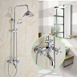 Wholesale Wall Mounted Shower Faucet Set Chrome Finished quot Shower Head Hand Shower
