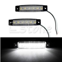 Wholesale Trailer Lights Australia - Car Styling 1Pair 6 LED Bus Van Boat Truck Trailer Side Marker Tail Light Lamp 12V White Car Light Source