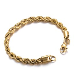 Chinese  2018 Latest Men Gold Twist Rope Chain Bracelet Fahshion 316L Stainless Steel IP Plating High Quality Jewelry 6mm*20cm manufacturers