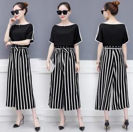 New Summer Women s Clothes Suit Lady s Off Shoulder Short Sleeve Tops Blouse  + Stripe Loose Pants 2pcs Woman Set C3424 93e3ddf4563d