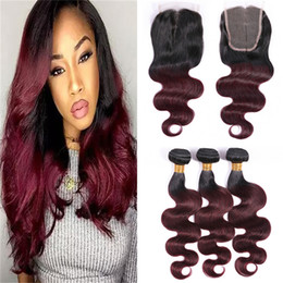 black red ombre hair weave 2019 - Ombre 99J Brazilian Hair Bundles with Lace Closure Black and Burgundy Wine Red Body Wave Ombre Human Hair Weaves with Cl