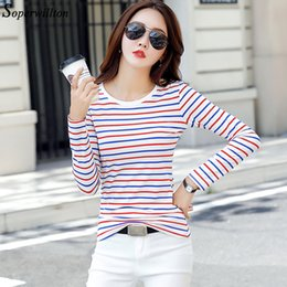 Red Striped T Shirt Wholesale NZ - Long Sleeve Striped Women's T Shirt Casual autumn O-neck Slim stripes Female T-Shirt Black White Cotton Red Tshirt S-3XL #T22
