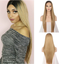 Silky Straight Ombre Wig Australia - 100% unprocessed raw virgin rey human hair long #1bt18 ombre color silky straight silk top full lace cap wig for women