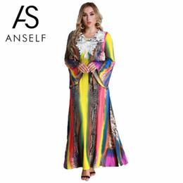 2343aec1e8 ANSELF 5XL 6XL Plus Size Dresses Women Maxi Long Dress Flare Long Sleeves  Belt Lace Colorful EleA-Line Party Dresses female