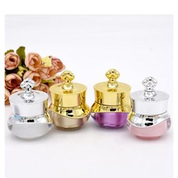 crown stamp 2019 - Luxury 5G Crown Shape Cream Jar Refillable 5ML Cosmetic jar Travel Face Cream Bottle Lotion Empty Pot Container B0122 ch