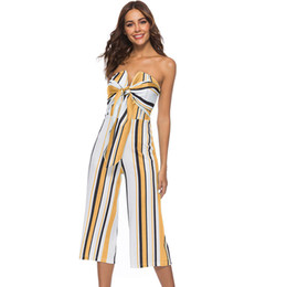 $enCountryForm.capitalKeyWord UK - Sexy Wide Leg Jumpsuit Romper Women Casual Spaghetti Strap Stripe Jumpsuit Strapless Elegant Bodycon Bow Tie Female
