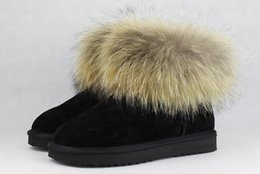 $enCountryForm.capitalKeyWord NZ - fashion cow split leather big fox fur girls winter short ankle snow boots for women winter flats shoes high quality