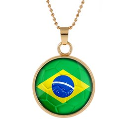 Crystals brazil online shopping - New Three dimensional World Cup Brazil Necklace Pendant colorful pendant Glass Cabochon Dome Necklaces jewelry Bestselling customed