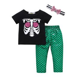 Wholesale new Baby Girls Kids Clothes Skeleton Print Short Sleeve T Shirt Top green Long Pants Bowknot sequin Headband three piece Outfits