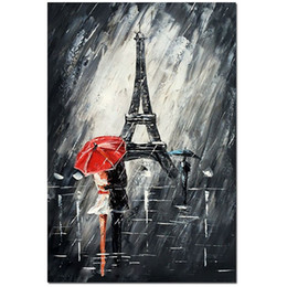 couple painting art UK - Hand Painted Modern Abstract Oil Painting on Canvas for Home Handmade Wall Art Decor Oil painting Paris Romance Couple Picture
