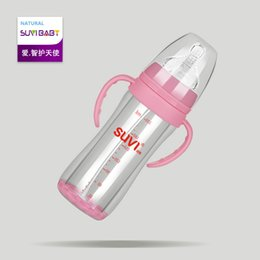 Wholesale SUVI baby wide mouth glass bottle Falling Double Anti Explosion Glass Bottle Newborn baby wide caliber with handle straw