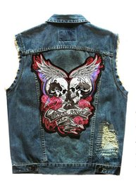 devil patches UK - Angel devil embroidered Patches Motorcycle Denim Vest For Men And Women Punk Ripped Men's Motor Biker Vest S-5XL