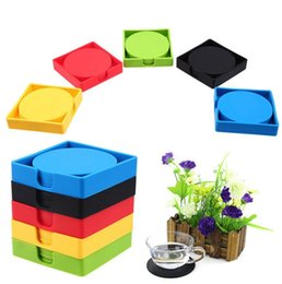Kitchen Cushions NZ - Silicone Placemat Coasters Cushion Anti-slip Mug Cup Mat Holder Pad Set Kitchen Mat Round Table Placemat OOA5181