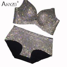 c94a1ceb3b wholesale Luxury rhinestone bra set women sexy shiny high quality diamond  elastic padded bra for lady
