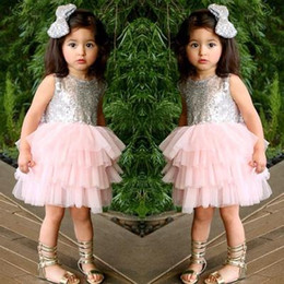 Children Tutu Formal Canada - 2016 New Fashion Sequins Backless Bowknot Sleeveless Children tulle Dress Girls Summer Round Neck dance Dress Kids cake tutu Dress K450