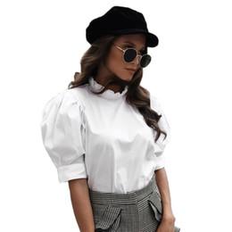 9eef053f6902e0 Weiße Tunika Blusen Frauen Rüschen Shirts Weibliche 2018 Sommer Frühling  Kurzarm Rüschen Hals Tops Büro Bluse Chemise Femme