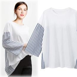 04af7833088 ladies black white striped t shirt 2019 - 2018 Autumn Europe Plus Size Tshirt  Women s Stripe
