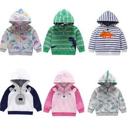 spring cartoon jackets 2019 - Child Sweatshirt Baby Boy girls dinosaur Print Outwear cartoon animal Hooded Coat Kids Spring Autumn Clothes Dinosaur Ho