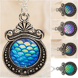 Chains For Mirrors Australia - Free shipping Women's Fish Dragon Scale Mermaid Bling Mirror Silver Vintage Flowers Gem Pendant Necklace for Drusy Lady Jewelry