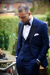 $enCountryForm.capitalKeyWord Canada - Peaked Lapel Tuxedos Groomsmen Suits Royal Blue Wedding suits for Men One Button Men Suits three piece Suit (Jacket+Pants+vest)