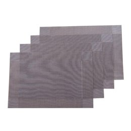China 4 Pcs Placemats PVC Dining Table Mats Heat Insulation Stain-resistant Kitchen Placemat Washable Table Mats (Silver Grey) supplier silver insulation suppliers