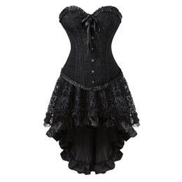39b686090c Sexy Vintage Black Corset Dress Victorian Burlesque Corsets Skirt Set  Halloween Party Dancing Cosplay Costume Plus Size S-6XL