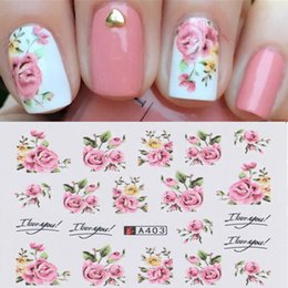 Christmas Gift Nails Australia - New 2 Sheets Nail Art Water Decal Transfer Stickers Pink Rose Flower Pattern Tips Nail Sticker Christmas gift